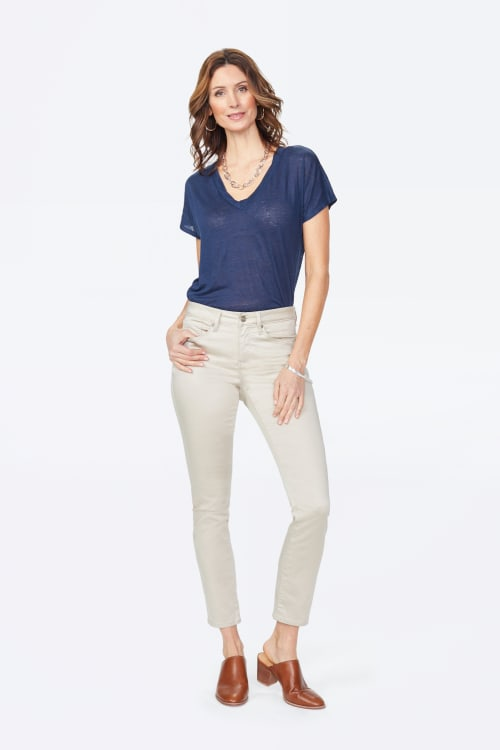 PRE ORDER NYDJ Sheri Slim Cut Sateen Classic Five-Pocket Zip Fly Jeans - Feather - Front