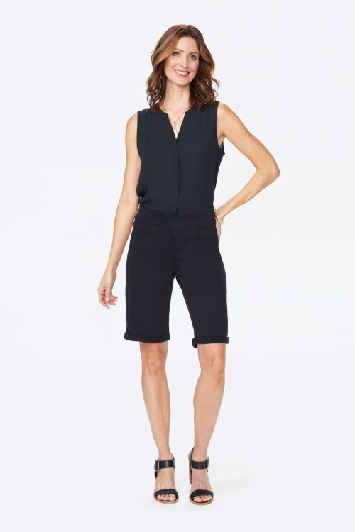 PRE ORDER NYDJ Pull On Shorts with Rolled Cuff - Black - Front