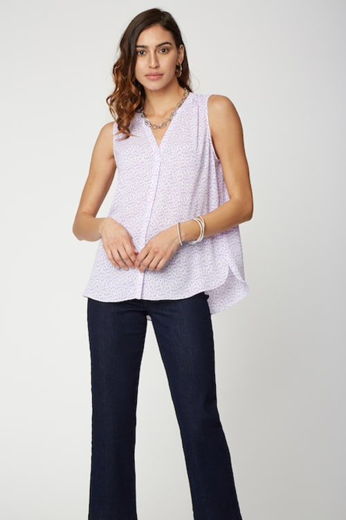 PRE ORDER NYDJ Sleeveless Pintuck Blouse - LILAC CAT - Front