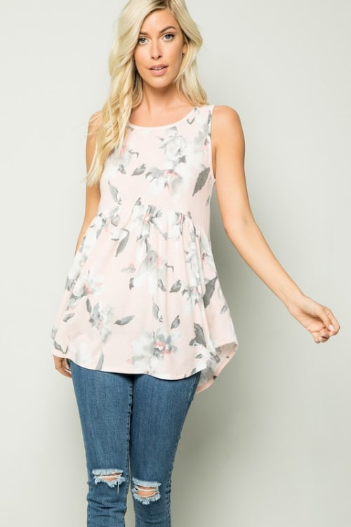 Floral Tunic Top - Blush - Front