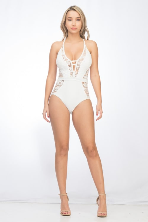 One Piece Sexy Lace Swimsuit - White - Front