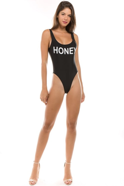 Pre Order One Piece Honey Print Swimsuit - Black - Front
