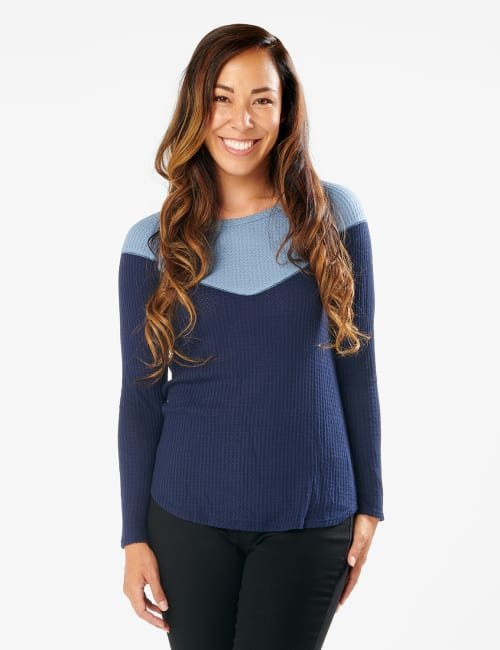 Denim Friendly Color Block Thermal Knit Top - Misses - Navy - Front