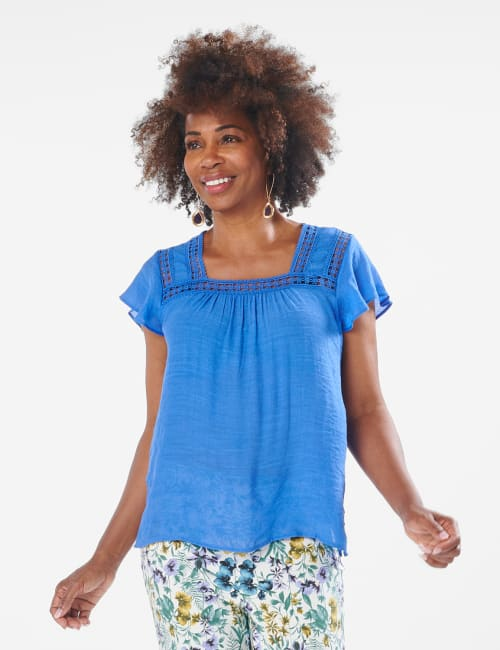 Crochet Trim Square Neck Textured Woven Top - Hydrangea Blue - Front