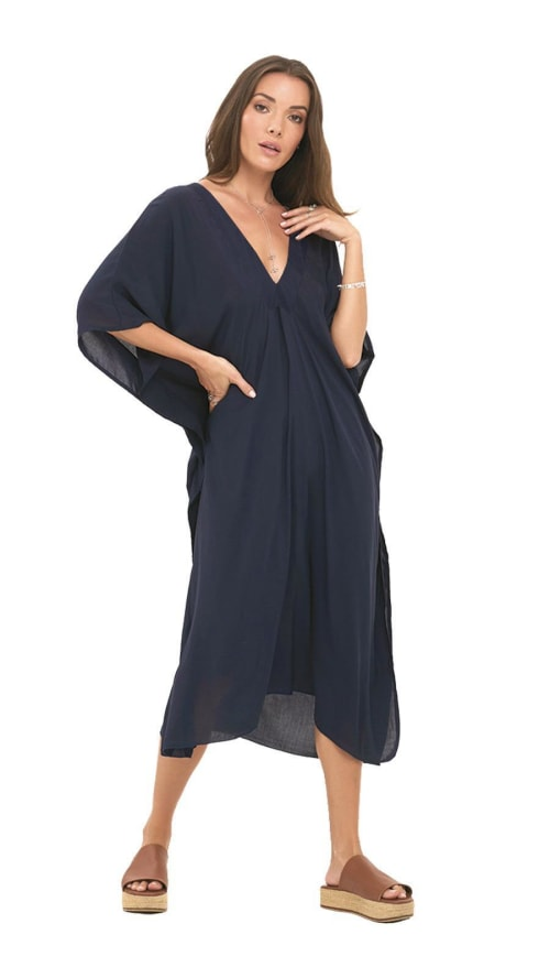 Pre-Order Strand Tunic Dress - Navy - Front