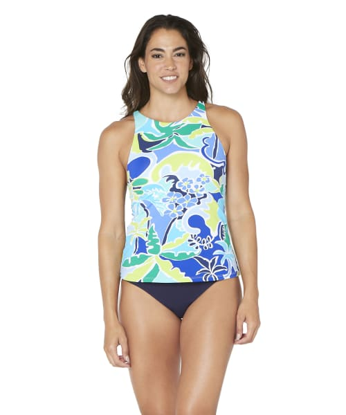 Nautica® Cocktails on the Bow High Neck Tankini Swimsuit Top - Blue - Front