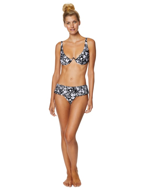 Pre-Order Avec Les Filles Lily of the Valley Floral Ruffle Swimsuit Bottom - Black/White - Front