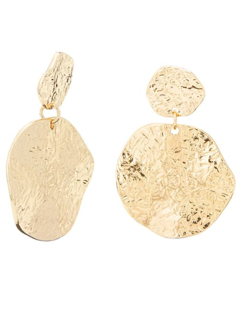 Crinkle Drop Post Earring - Gold - Front