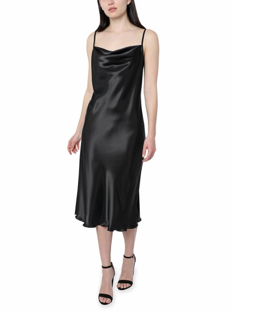 Bebe Satin Midi Dress - black - Front
