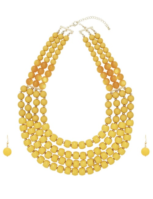4 Row Multi Beaded Set - Yellow - Front