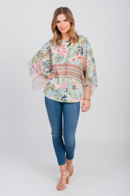 Pre-Order Palm Party Poncho Top - Misses - Green - Front