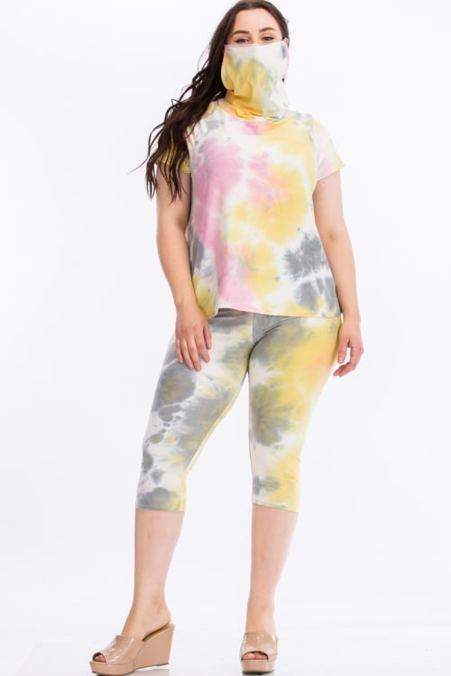 Pre-Order Tie Dye Lounge Set With Built In Mask - Multi - Front