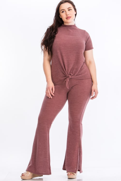 Pre-Order Tie Top And Split Bell Pant Lounge Set - Mauve - Front
