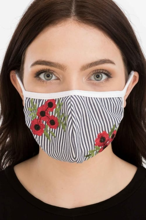 Pre-Order Floral Embroidered Fashion Face Mask - Blue Stripe - Front