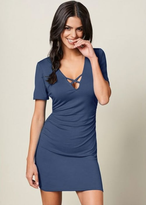 Pre-Order Rouched side Midi Dress with Criss-cross Detail - Denim - Front