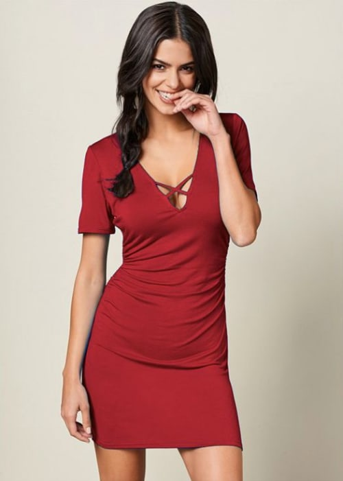 Pre-Order Rouched side Midi Dress with Criss-cross Detail - Red - Front