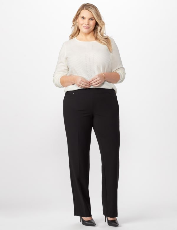 *PRE-SALE* Secret Agent Tummy Control Pants Cateye Rivet - Tall Length - Black - Front