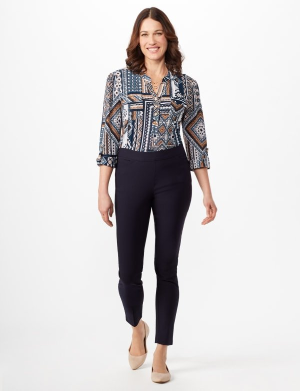 Superstretch Luxe Pull On Pants - Navy - Front