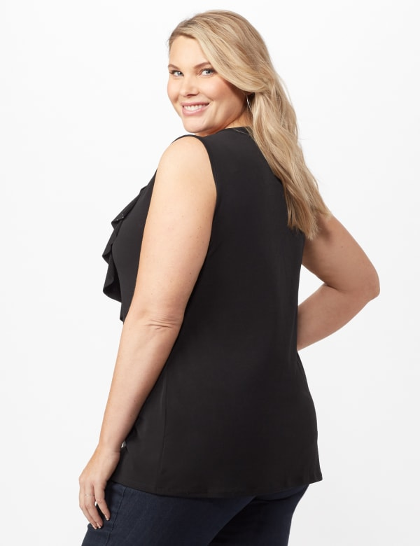 Rhinestone Ruffle Layer Shell Top - Black - Back