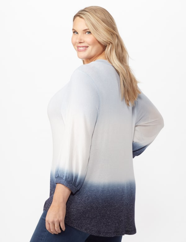V-Neck  Hacci Dip Dye Knit Top Plus - Blue - Back