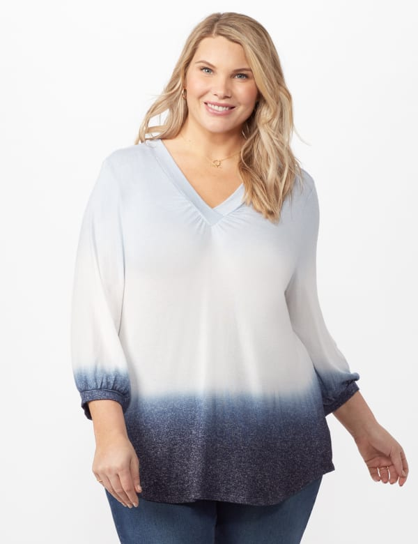 V-Neck  Hacci Dip Dye Knit Top Plus - Blue - Front