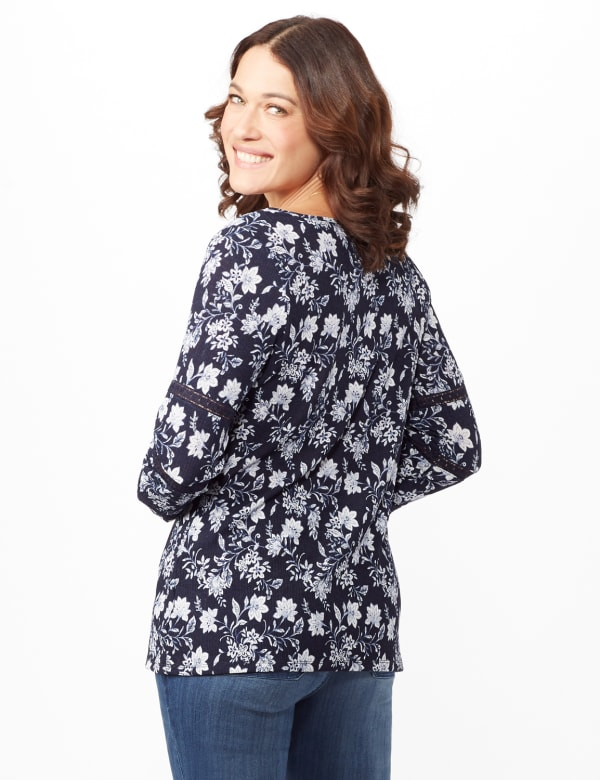 Long Sleeve Floral Knit Top with Lace Inset - Blue - Back
