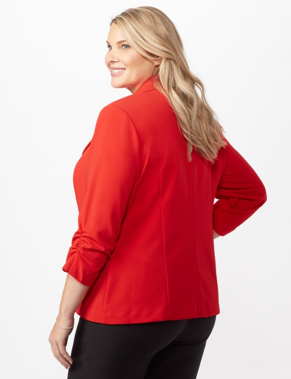 Cinched Sleeve One pocket Notch Collar Topper Plus - Red - Back