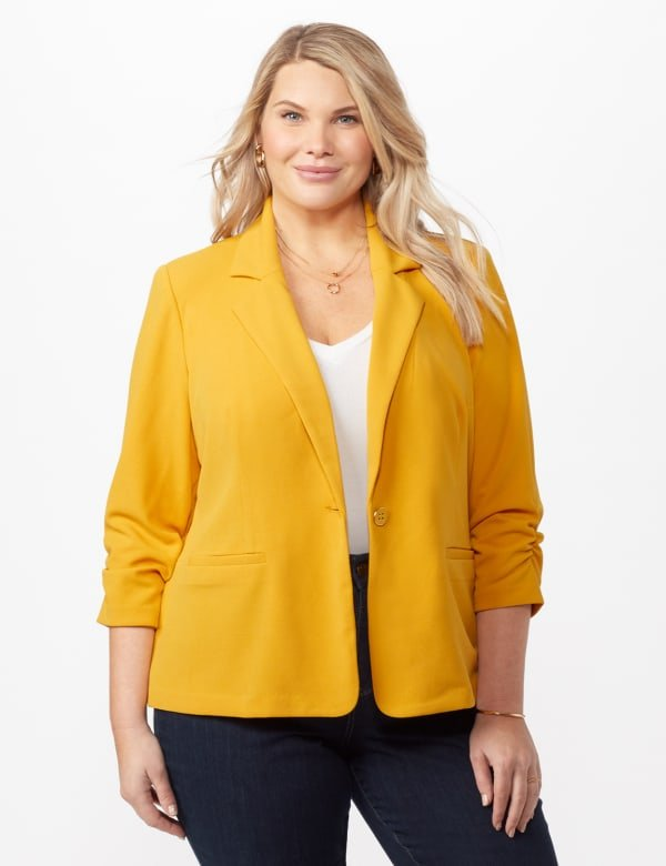 Cinched Sleeve One pocket Notch Collar Topper Plus - Gold - Front