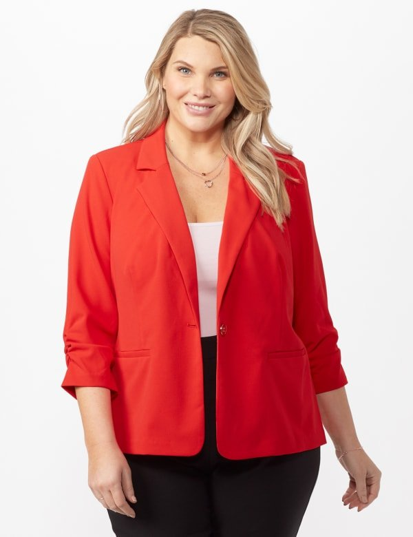 Cinched Sleeve One pocket Notch Collar Topper Plus - Red - Front