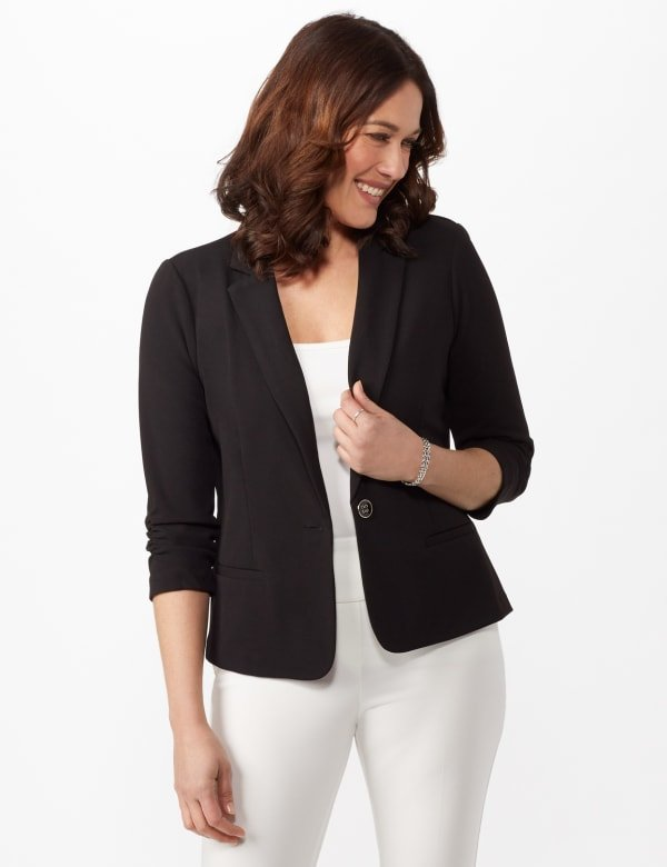 Cinched Sleeve One Button Faux Pocket Notch Collar Topper - Black - Front