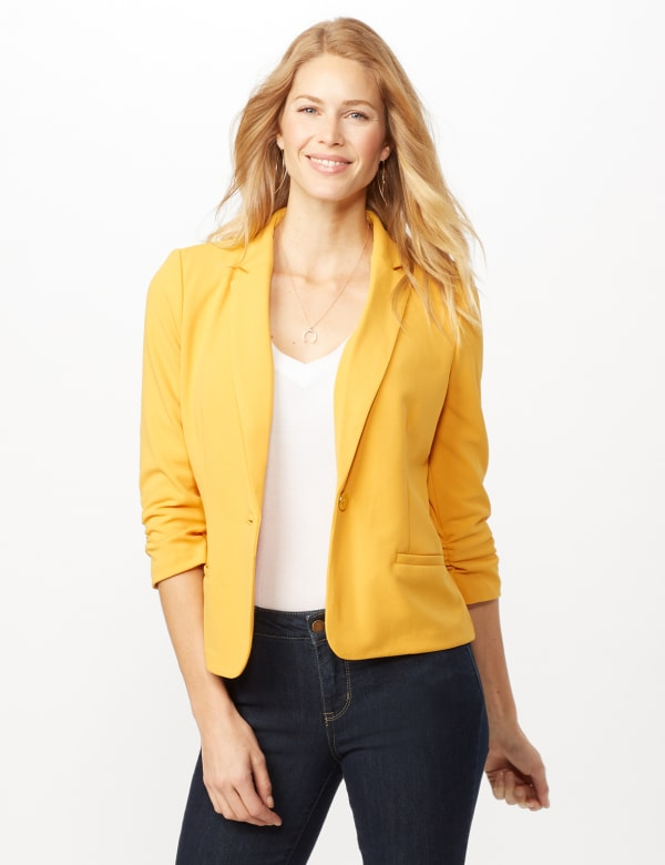 Cinched Sleeve One Button Faux Pocket Notch Collar Topper - Gold - Front
