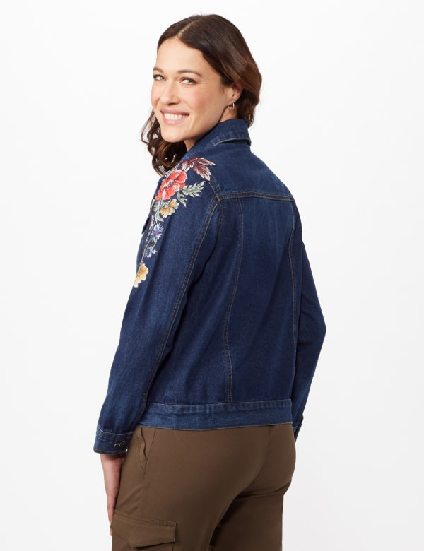 Long Sleeve Embroidered Denim Jacket - Denim - Back