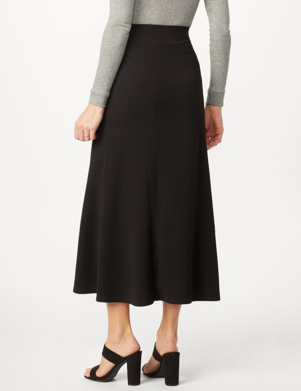 Long Flippy Skirt - Black - Back