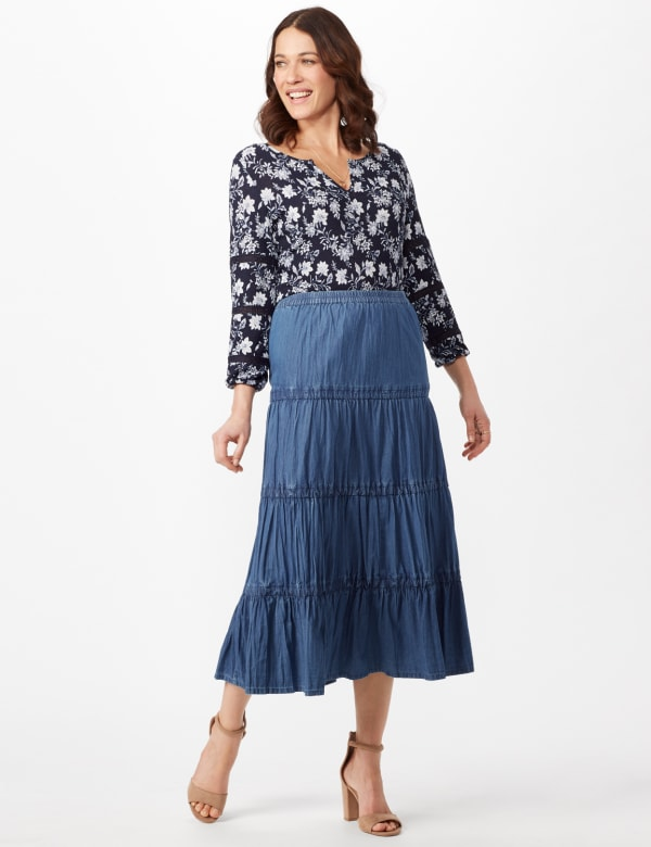 Long Denim Tier Skirt - Denim - Front