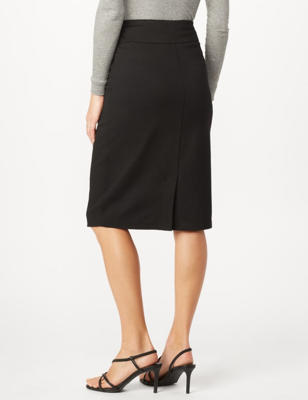 Pull On Ponte Skirt - Black - Back