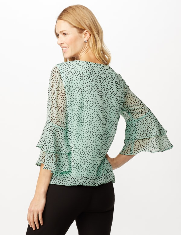 Dotted Bubble Hem Woven Top with Triple Sleeve and Crisscross Neckline Detail - Sage/Black - Back