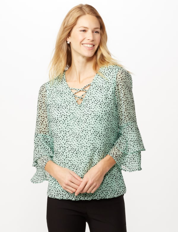 Dotted Bubble Hem Woven Top with Triple Sleeve and Crisscross Neckline Detail - Sage/Black - Front