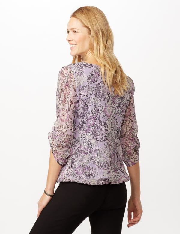 Paisley Floral Bubble Hem Woven Top with Chain Neck Detail - Purple - Back