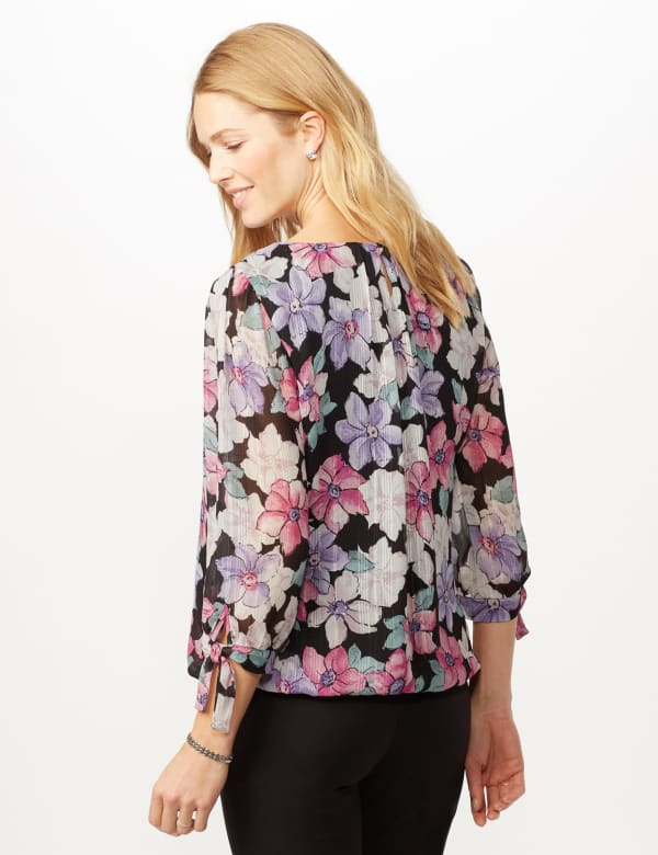 Bright Floral Bubble Hem Top with Tie Sleeve - Multi - Back