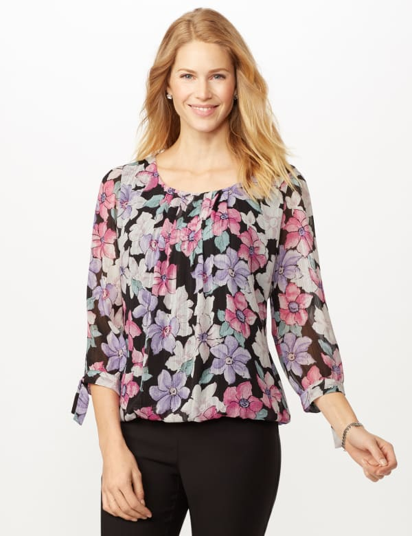 Bright Floral Bubble Hem Top with Tie Sleeve - Multi - Front