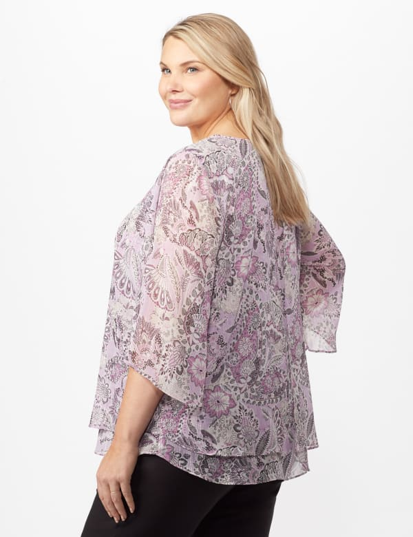 Paisley Floral Double Layer Poncho - Purple - Back