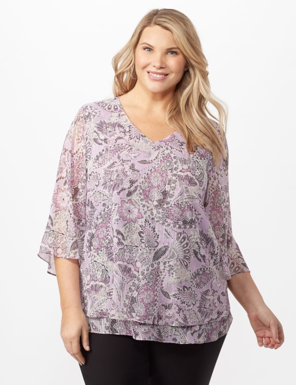 Paisley Floral Double Layer Poncho - Purple - Front