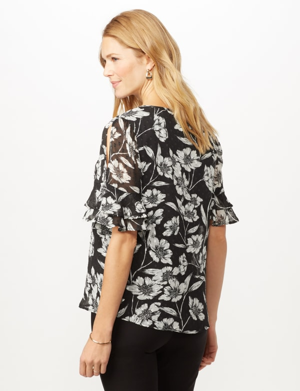 Floral Clip Dot Woven Top - Black/White - Back