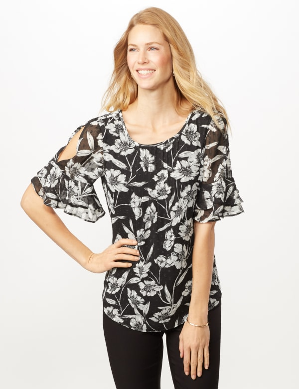 Floral Clip Dot Woven Top - Black/White - Front