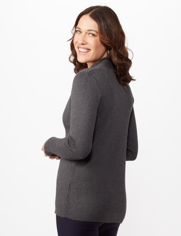 Long Sleeve Scalloped Cardigan - Heather Charcoal - Back