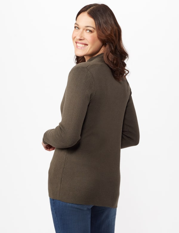 Long Sleeve Scalloped Cardigan - Shaded Moss - Back