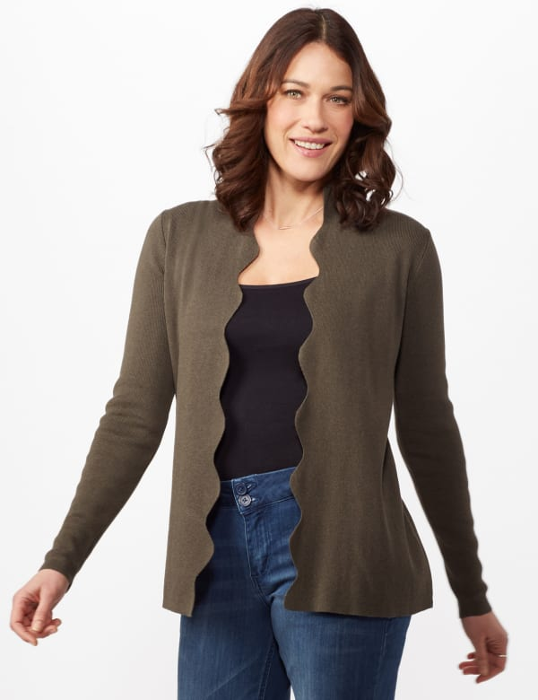 Long Sleeve Scalloped Cardigan - Shaded Moss - Front
