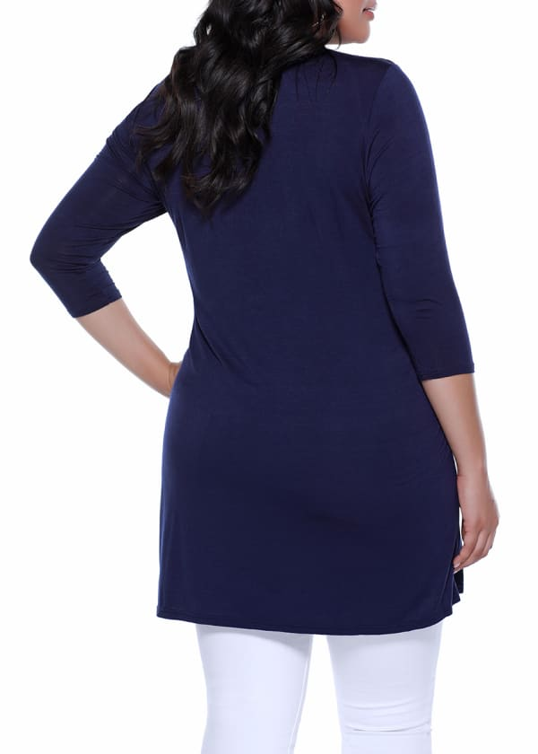 3/4 Sleeve Grommet Cardigan - Navy/Gold - Back