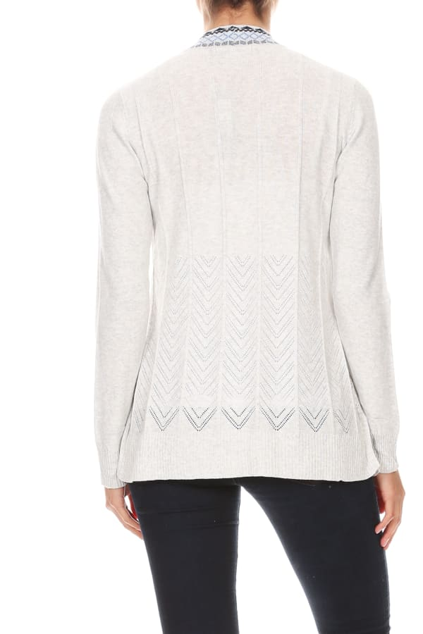 Embroidered Placket Cardigan with Pointelle Detail - Heather Grey - Back