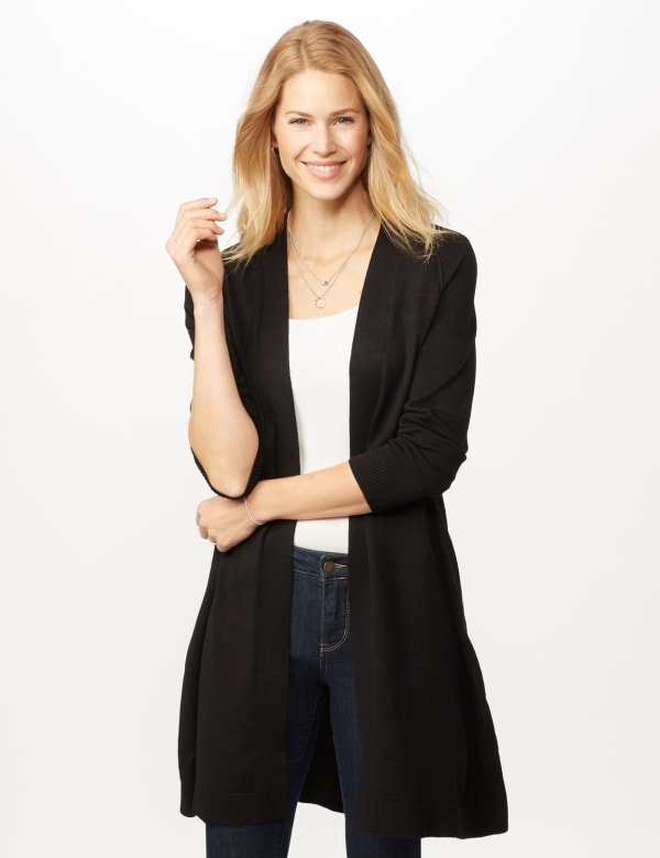 Long Sleeve Duster with Side Slits - Black - Front